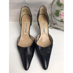 Heels Manolo Blahnik Black D'orsay Leather Pumps